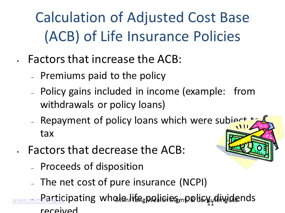 Calculation of Adjusted Cost Base (ACB) of Life Insurance Policies Factors that increase the ACB: – Premiums paid to the policy – Policy gains include