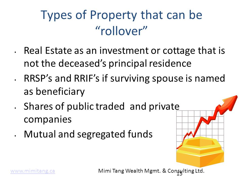 "Types of Property that can be ""rollover"" Real Estate as an investment or cottage that is not the deceased's principal residence RRSP's and RRIF's if s"