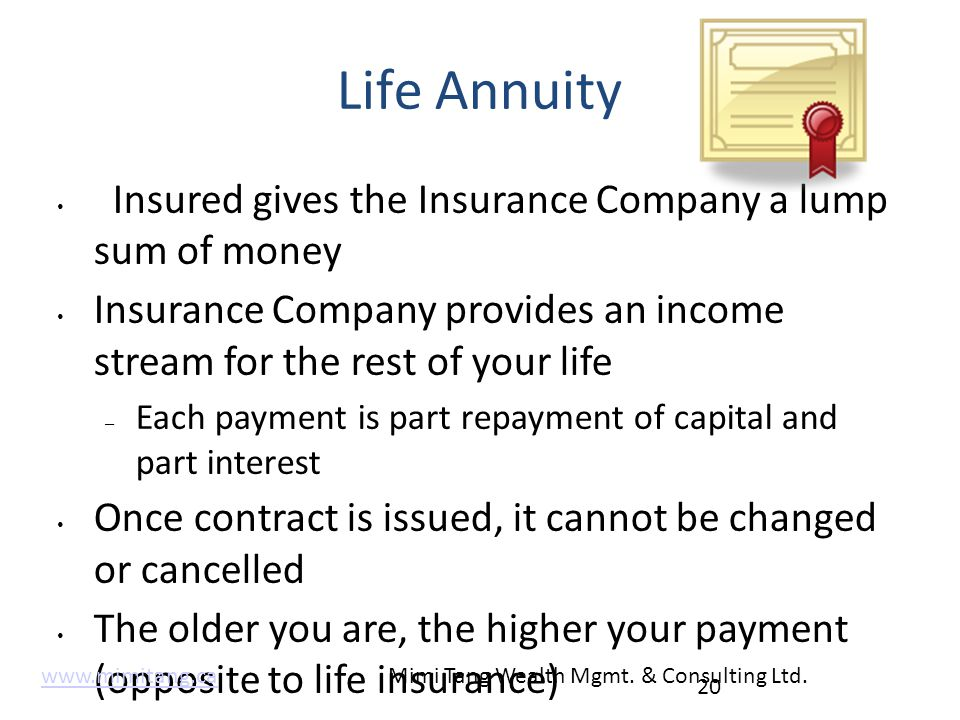 Life Annuity Insured gives the Insurance Company a lump sum of money Insurance Company provides an income stream for the rest of your life – Each paym