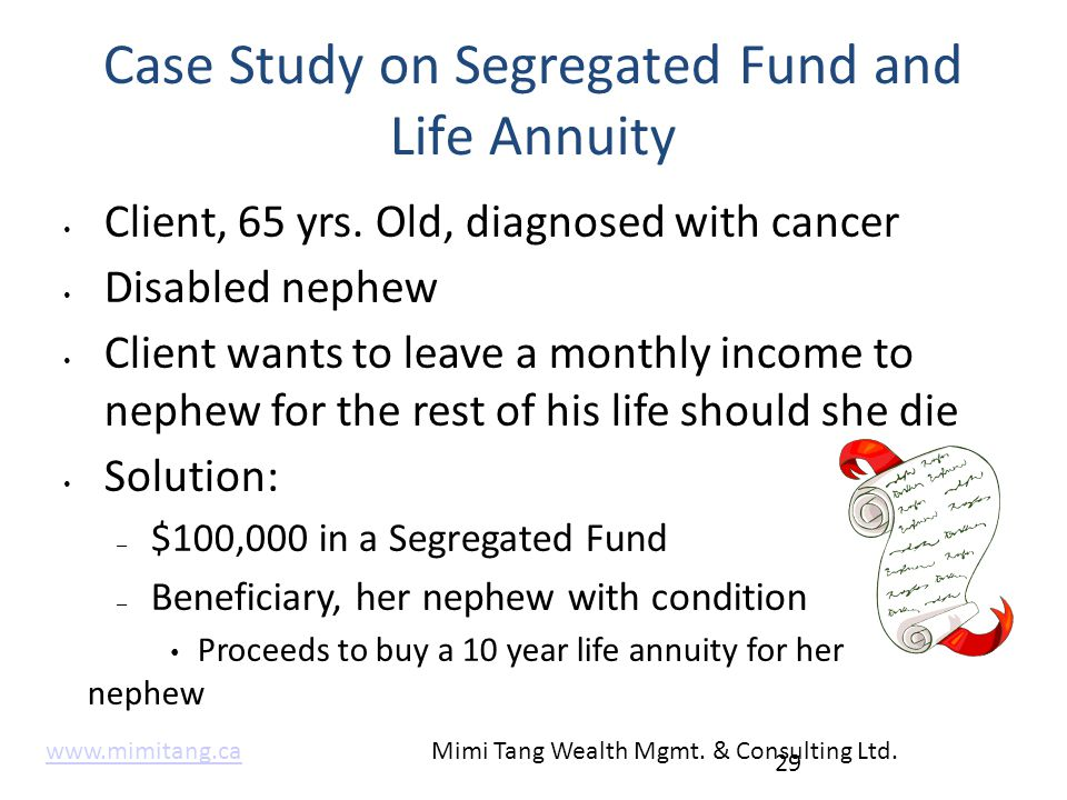 Case Study on Segregated Fund and Life Annuity 29 Client, 65 yrs. Old, diagnosed with cancer Disabled nephew Client wants to leave a monthly income to