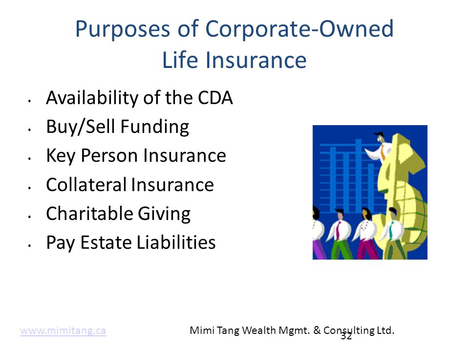 Purposes of Corporate-Owned Life Insurance Availability of the CDA Buy/Sell Funding Key Person Insurance Collateral Insurance Charitable Giving Pay Es