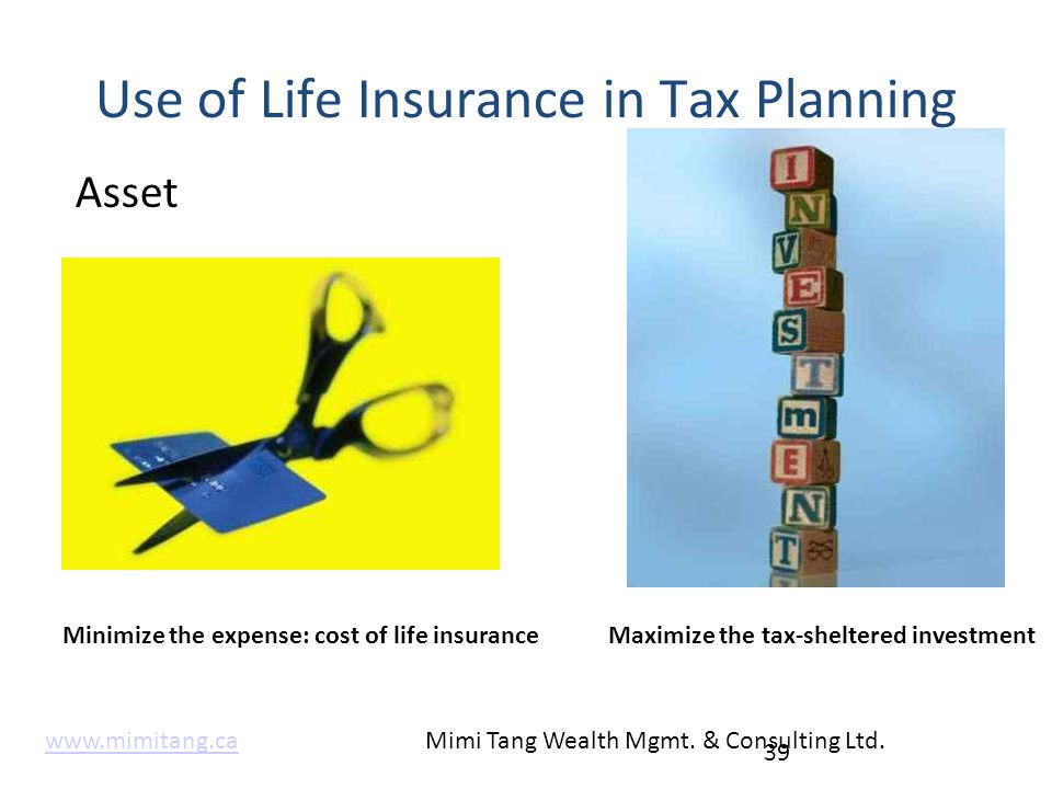 Use of Life Insurance in Tax Planning Asset 39 Minimize the expense: cost of life insuranceMaximize the tax-sheltered investment www.mimitang.cawww.mi