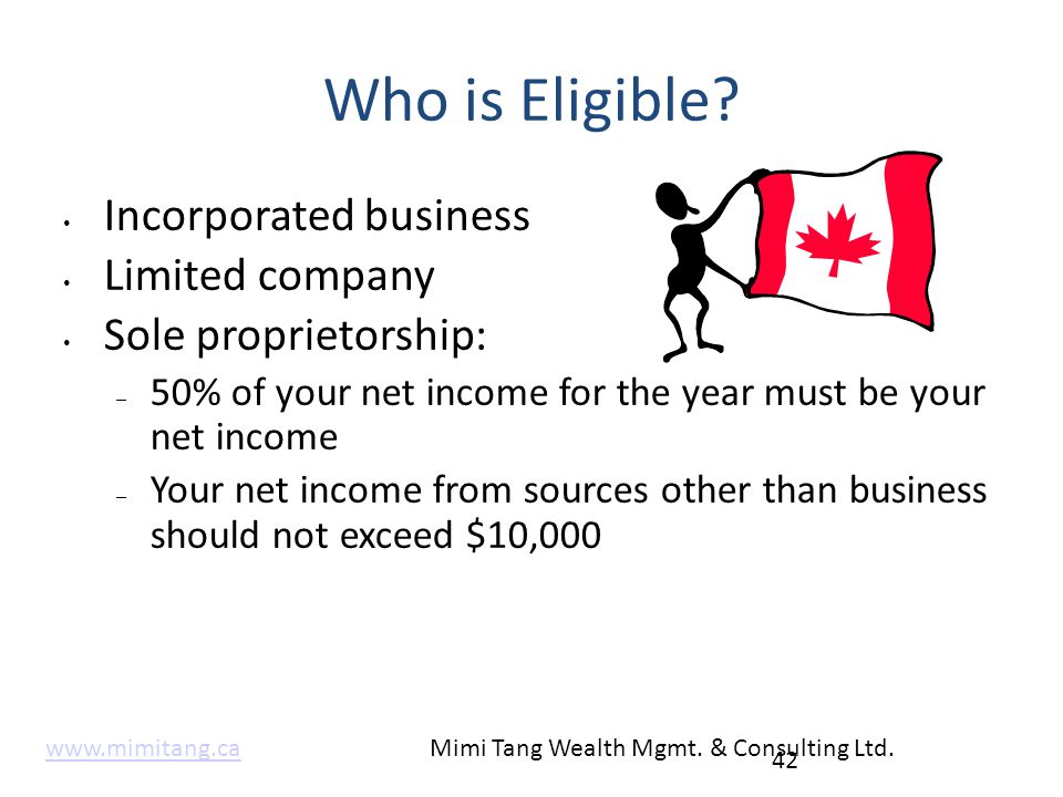 Who is Eligible? Incorporated business Limited company Sole proprietorship: – 50% of your net income for the year must be your net income – Your net i