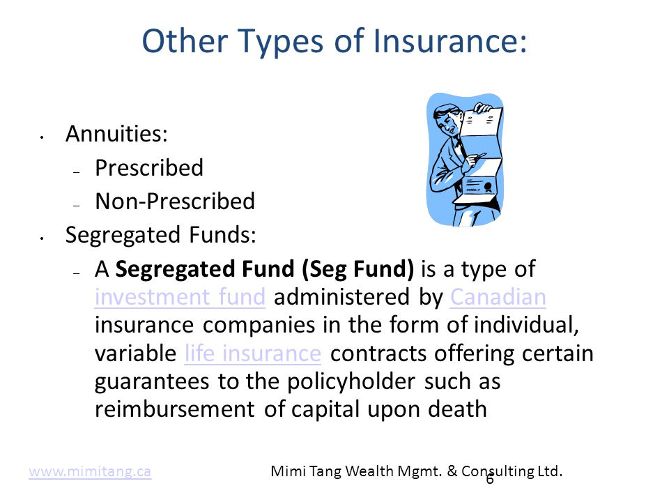 Other Types of Insurance: Annuities: – Prescribed – Non-Prescribed Segregated Funds: – A Segregated Fund (Seg Fund) is a type of investment fund admin