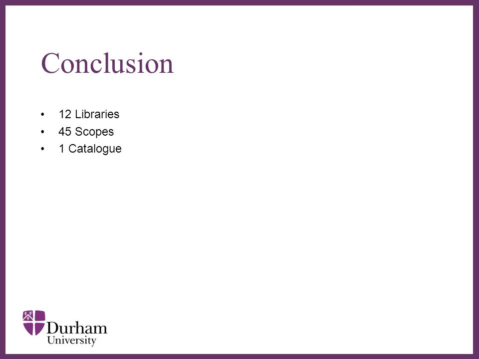 ∂ Conclusion 12 Libraries 45 Scopes 1 Catalogue