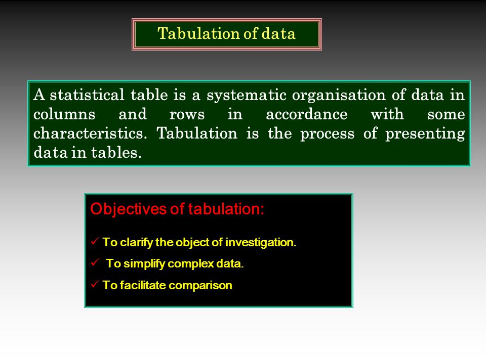 Tabulation of data Objectives of tabulation: To clarify the object of investigation. To simplify complex data. To facilitate comparison A statistical