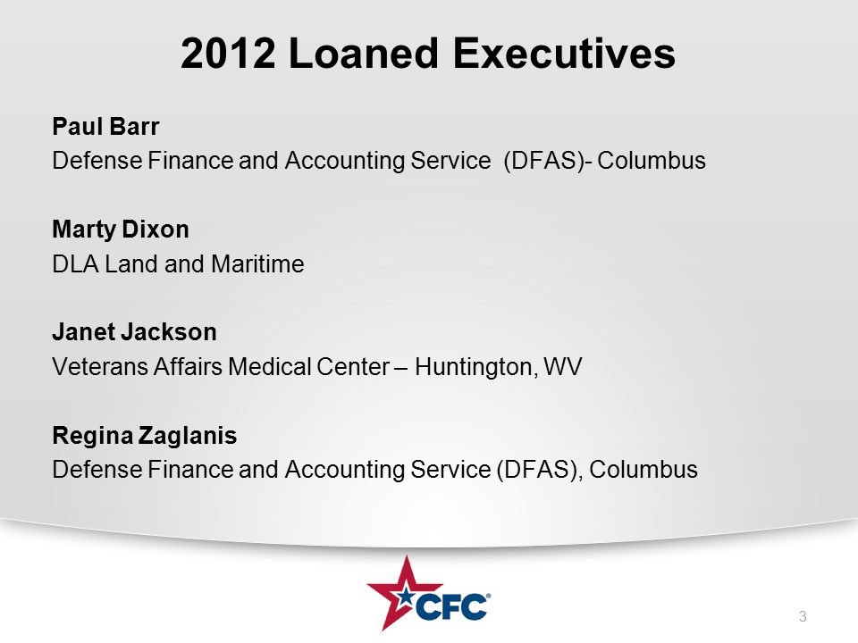 2012 Loaned Executives Paul Barr Defense Finance and Accounting Service (DFAS)- Columbus Marty Dixon DLA Land and Maritime Janet Jackson Veterans Affairs Medical Center – Huntington, WV Regina Zaglanis Defense Finance and Accounting Service (DFAS), Columbus 3