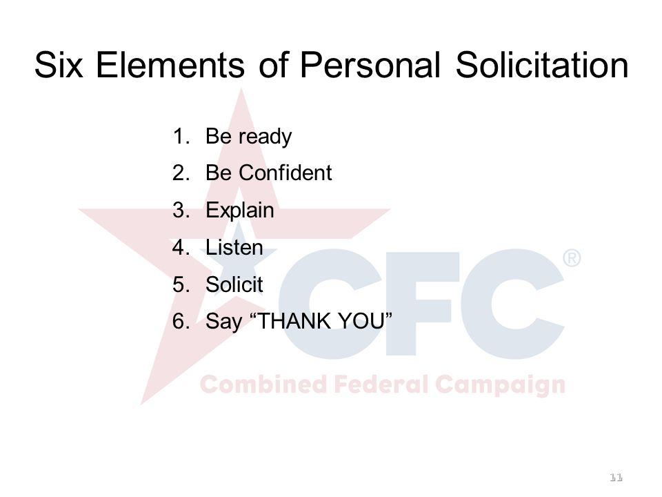 11 Six Elements of Personal Solicitation 1. 1.Be ready 2.