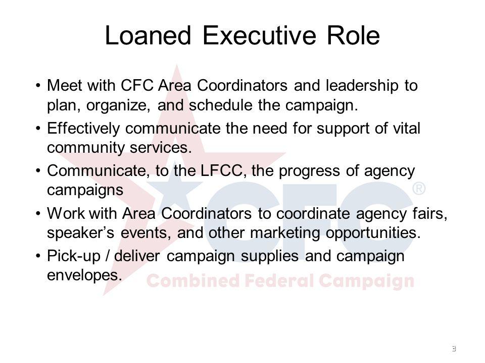 4 Loaned Executive Role Monitor individual account progress.