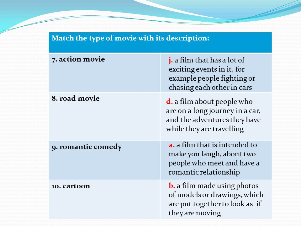 Match the type of movie with its description: 7. action movie 8. road movie 9. romantic comedy 10. cartoon j. a film that has a lot of exciting events