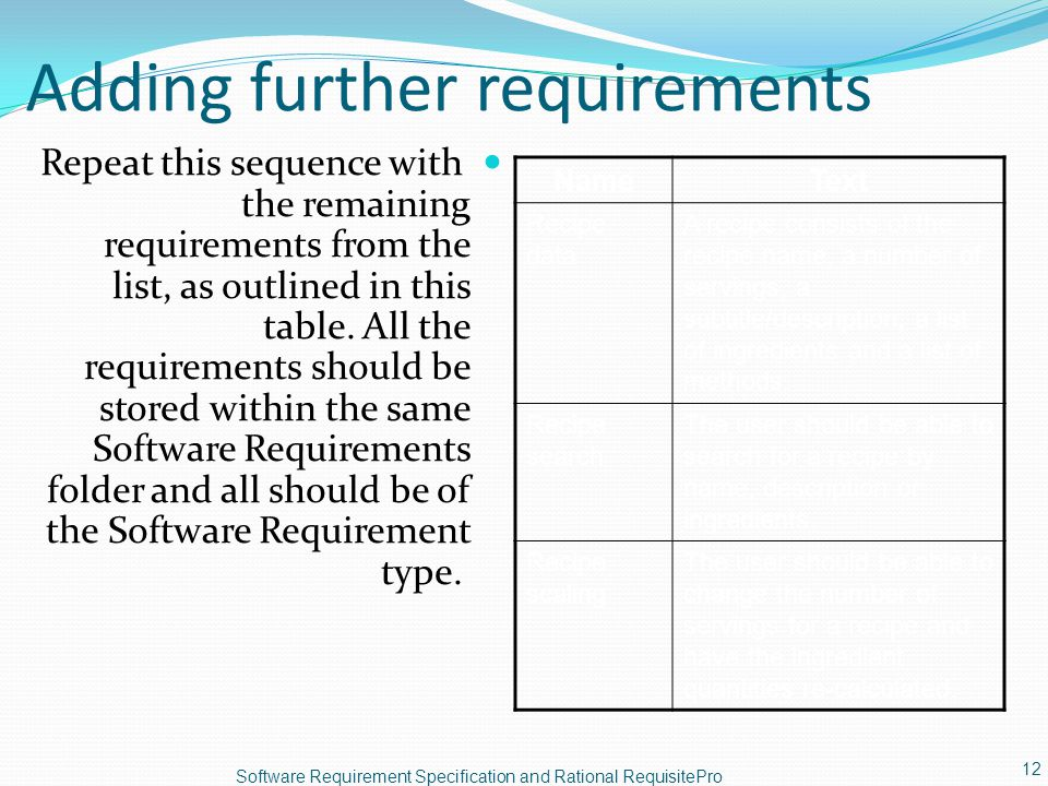 Adding further requirements Repeat this sequence with the remaining requirements from the list, as outlined in this table. All the requirements should