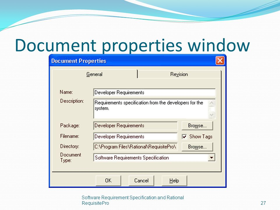 Document properties window Software Requirement Specification and Rational RequisitePro27
