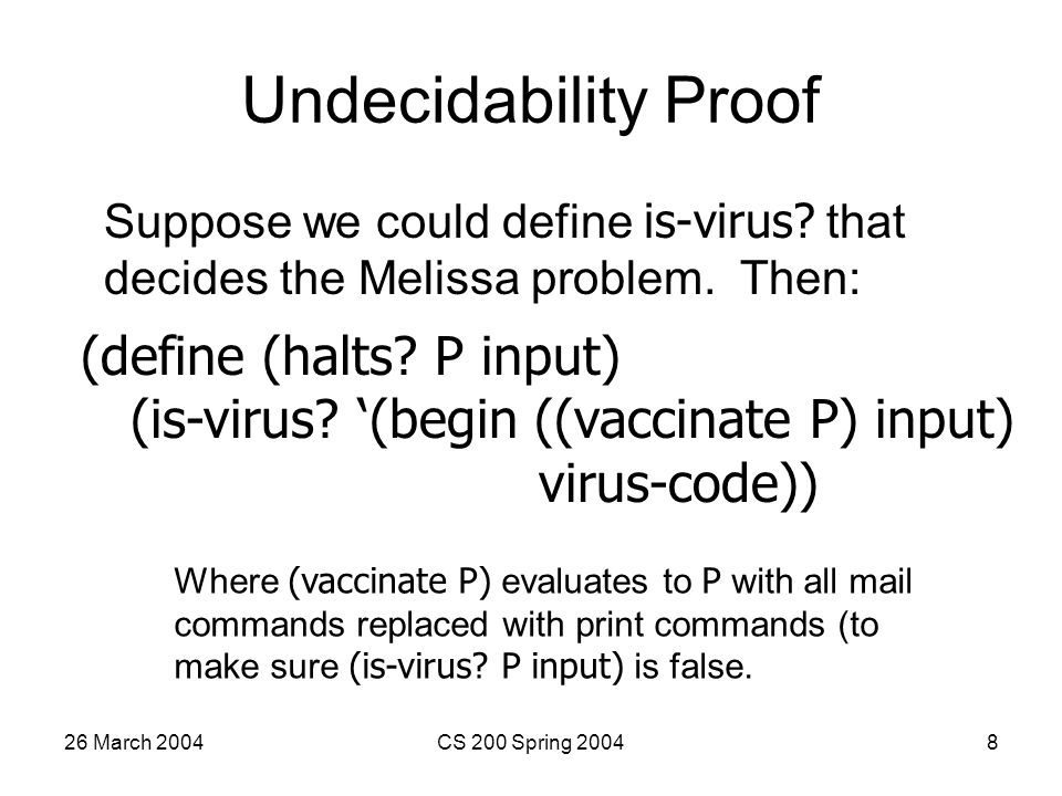 26 March 2004CS 200 Spring 20048 Undecidability Proof Suppose we could define is-virus.