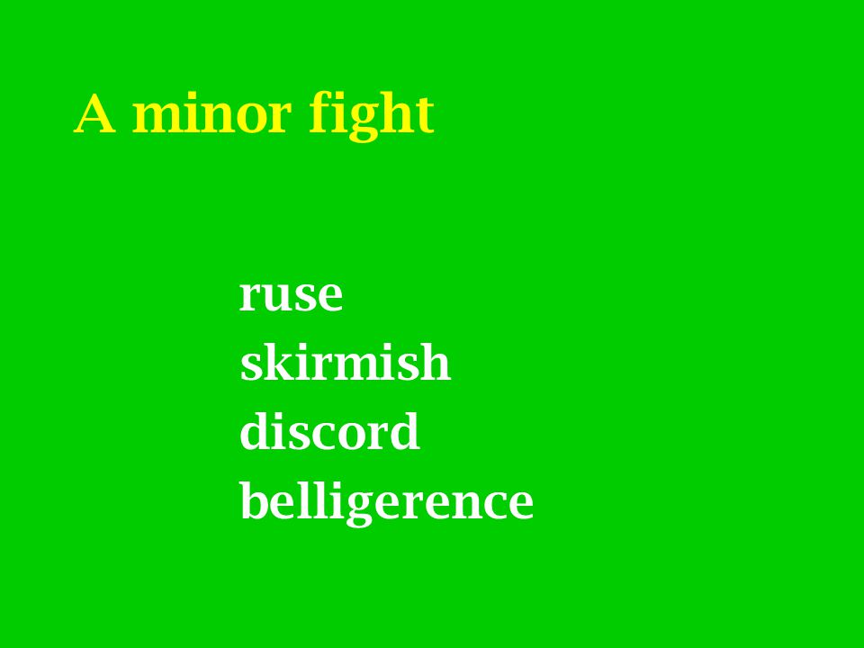A minor fight ruse skirmish discord belligerence