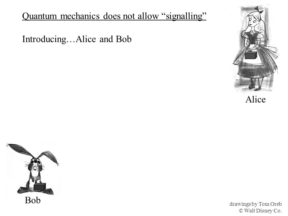 Quantum mechanics does not allow signalling Introducing…Alice and Bob drawings by Tom Oreb © Walt Disney Co.