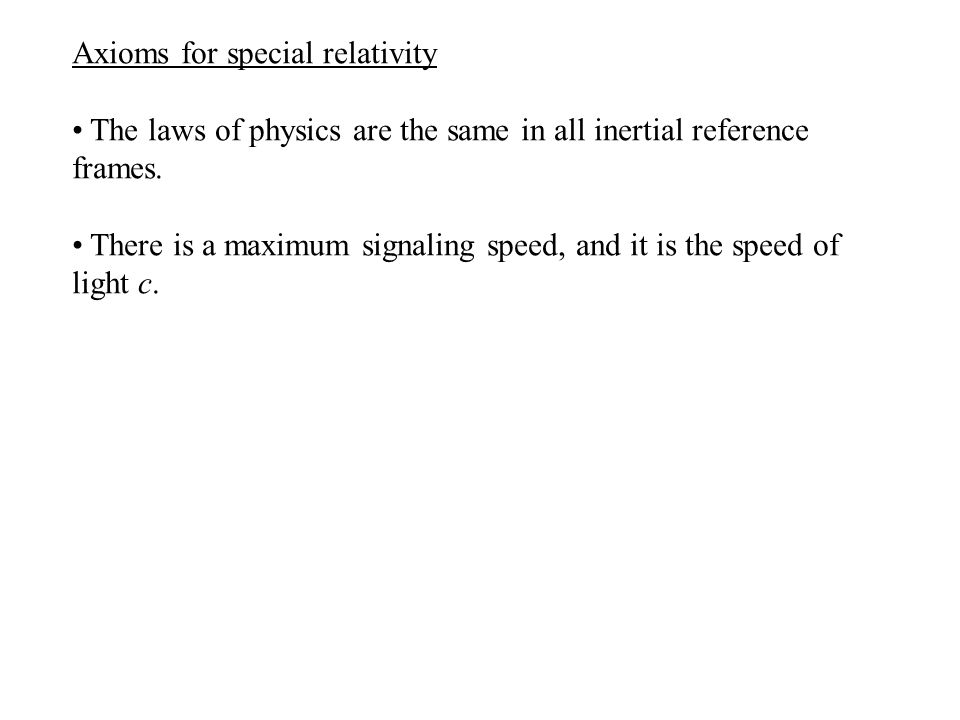 Axioms for special relativity The laws of physics are the same in all inertial reference frames.
