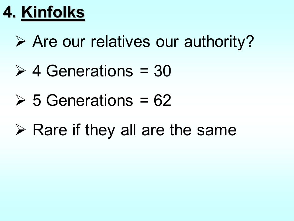 4.Kinfolks  Are our relatives our authority.
