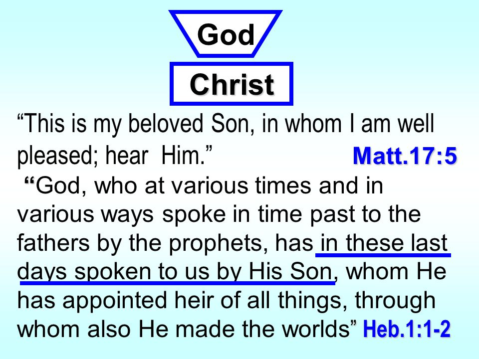 Matt.17:5 This is my beloved Son, in whom I am well pleased; hear Him. Matt.17:5 Heb.1:1-2 God, who at various times and in various ways spoke in time past to the fathers by the prophets, has in these last days spoken to us by His Son, whom He has appointed heir of all things, through whom also He made the worlds Heb.1:1-2 God Christ