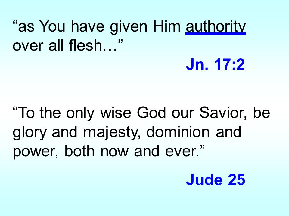 as You have given Him authority over all flesh… Jn.