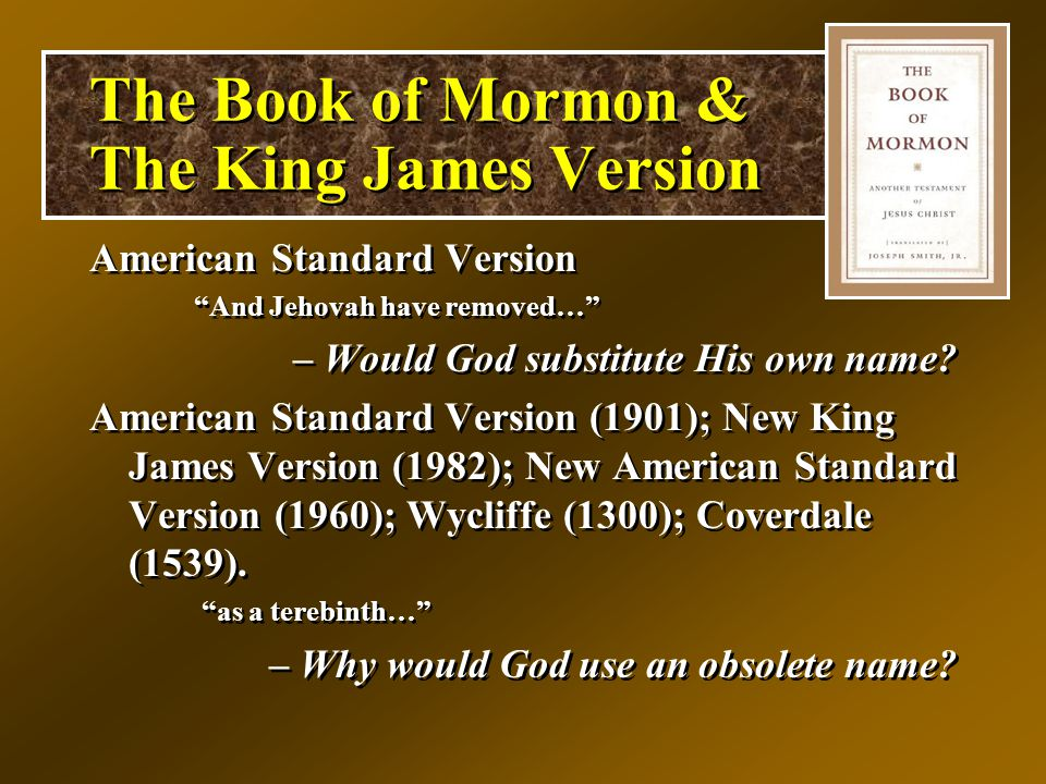 American Standard Version And Jehovah have removed… – Would God substitute His own name.