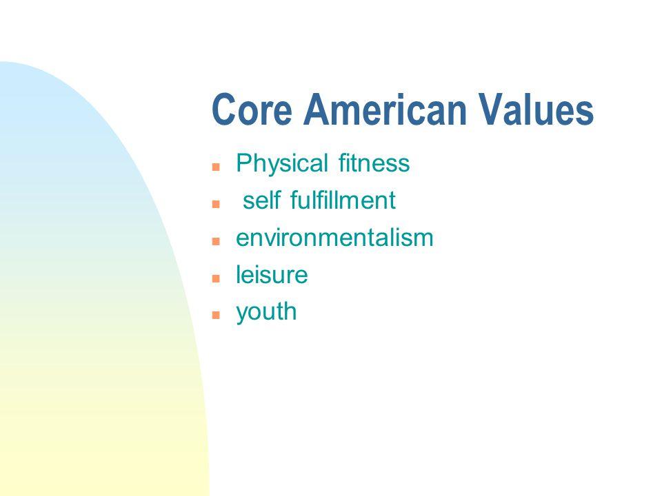 Core American Values n Physical fitness n self fulfillment n environmentalism n leisure n youth