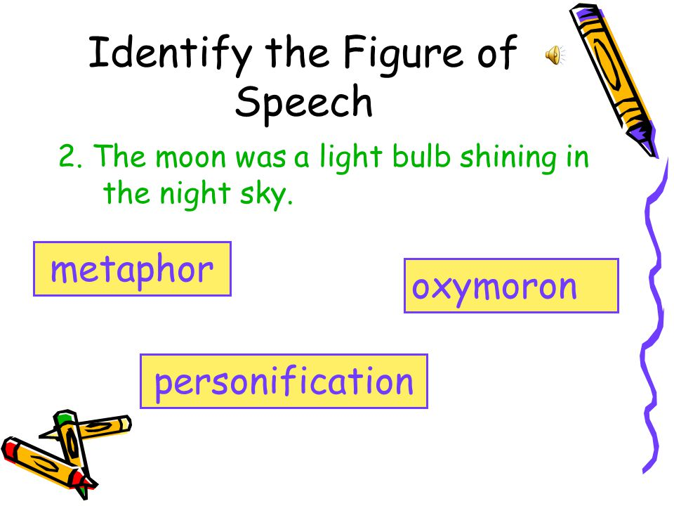 Identify the Figure of Speech 2.The moon was a light bulb shining in the night sky.