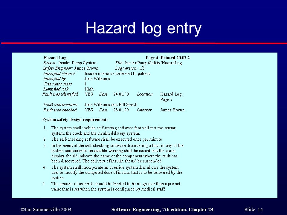 ©Ian Sommerville 2004Software Engineering, 7th edition. Chapter 24 Slide 14 Hazard log entry