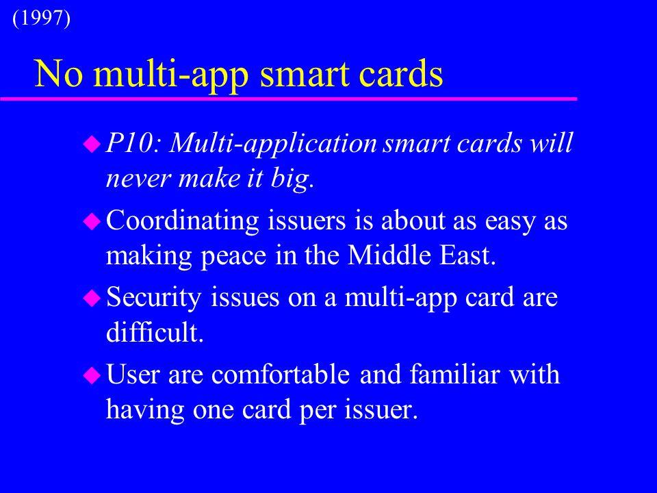 No multi-app smart cards u P10: Multi-application smart cards will never make it big.