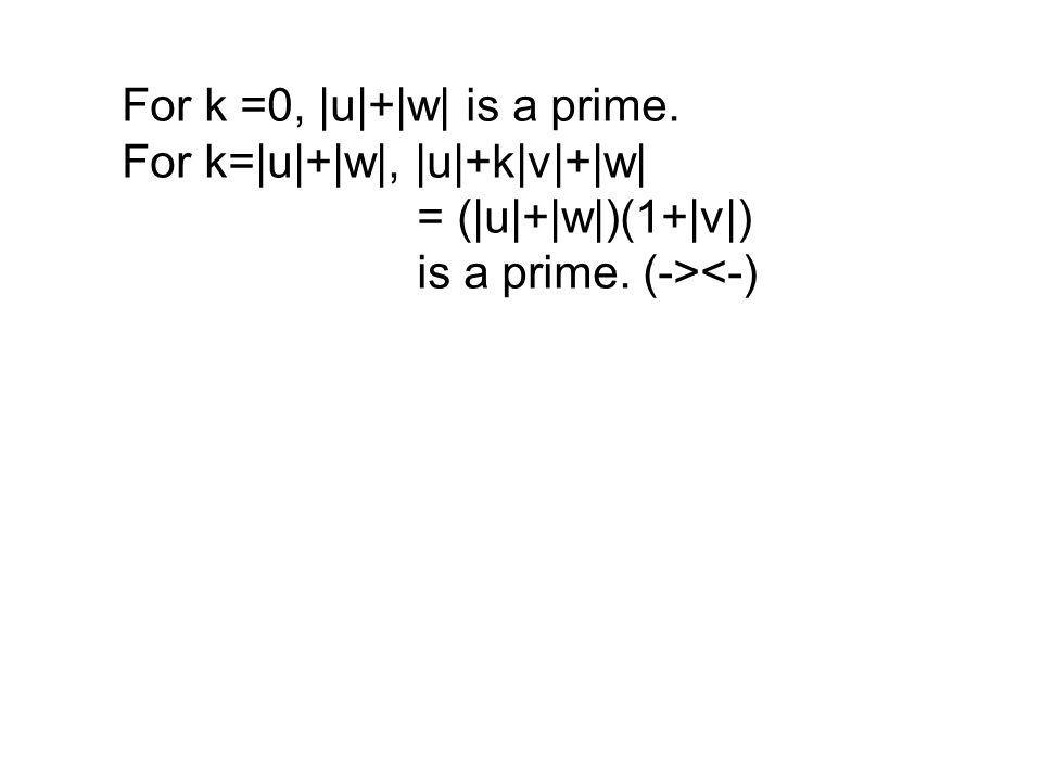 For k =0, |u|+|w| is a prime. For k=|u|+|w|, |u|+k|v|+|w| = (|u|+|w|)(1+|v|) is a prime. (-><-)