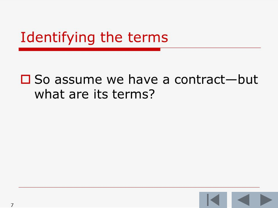  So assume we have a contract—but what are its terms 7 Identifying the terms 7