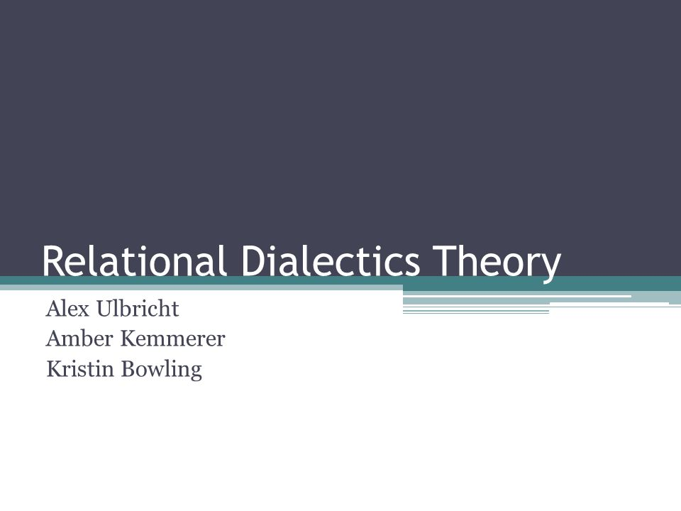 Dialectics Interactional dialectics- are tensions resulting from and constructed by communication.