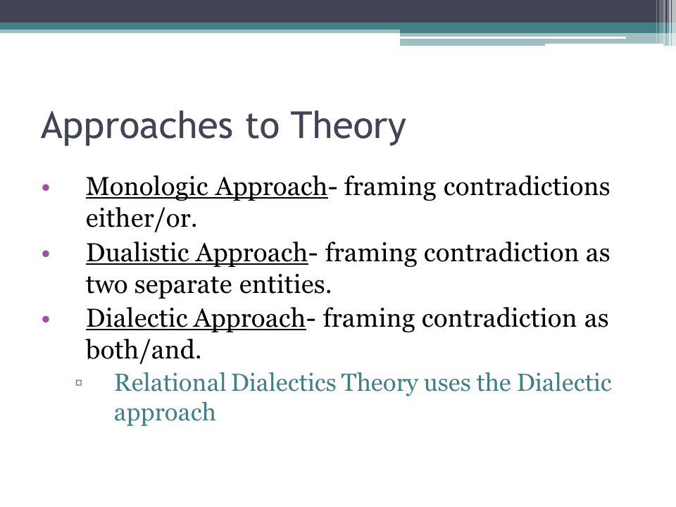 Approaches to Theory Monologic Approach- framing contradictions either/or. Dualistic Approach- framing contradiction as two separate entities. Dialect
