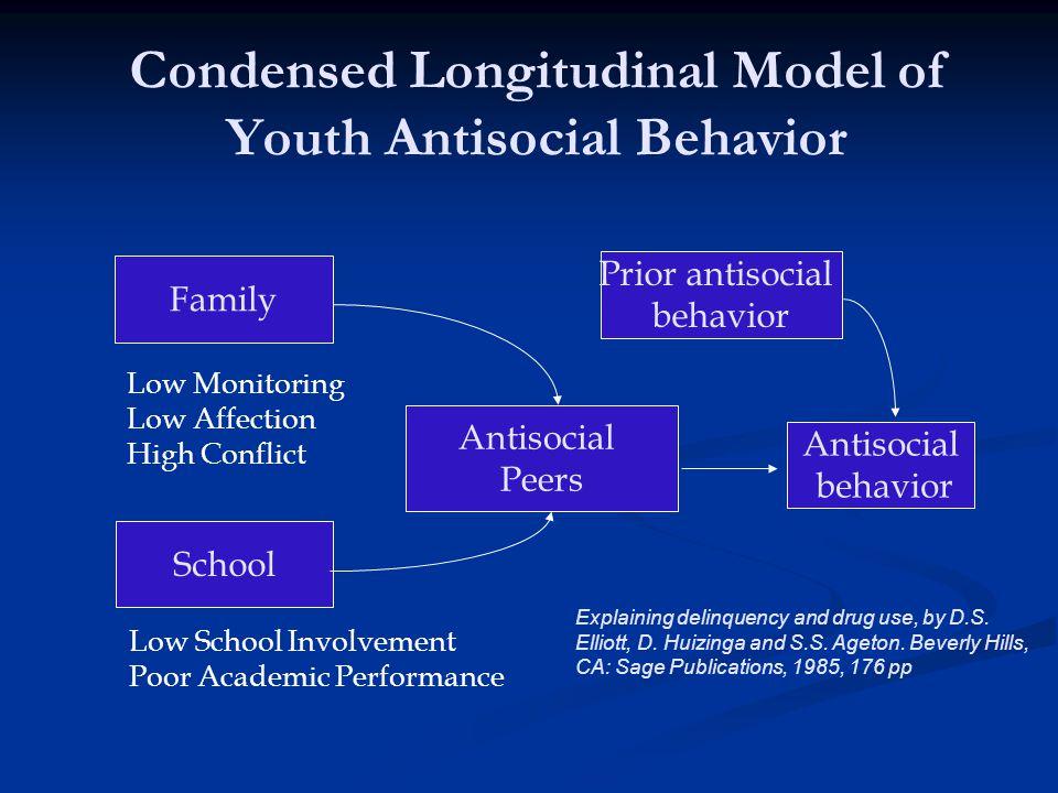 Condensed Longitudinal Model of Youth Antisocial Behavior Family School Antisocial Peers Antisocial behavior Prior antisocial behavior Low Monitoring