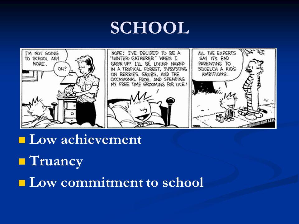 SCHOOL Low achievement Truancy Low commitment to school