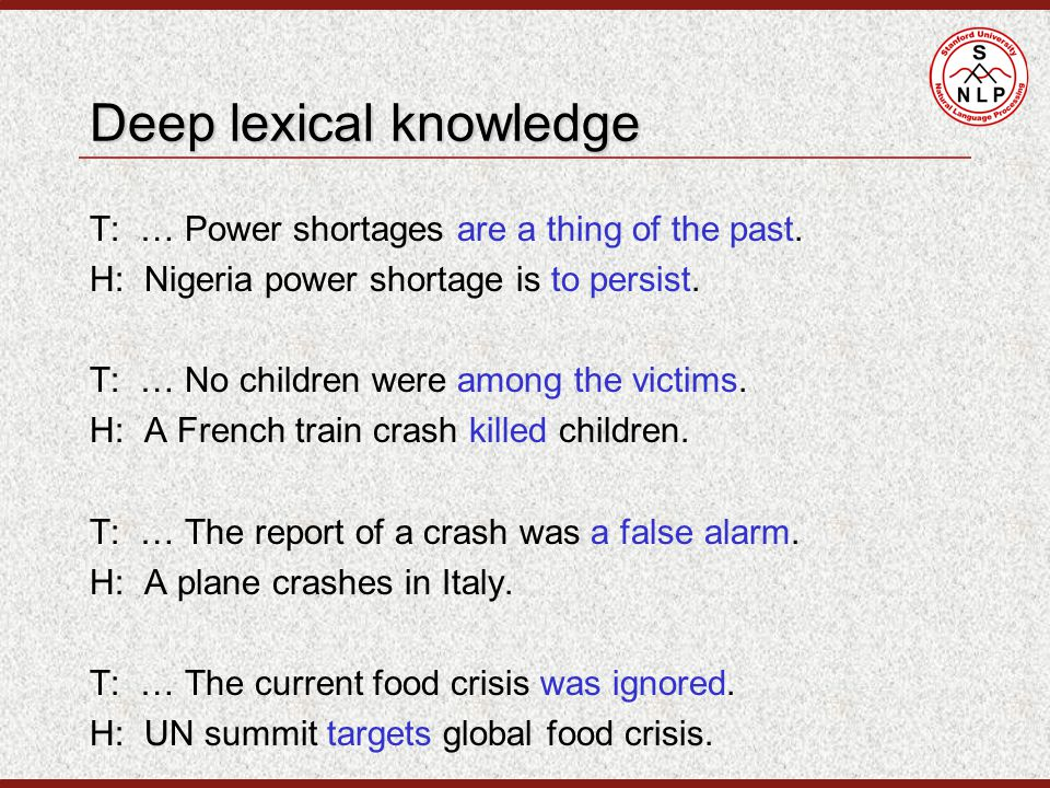 Deep lexical knowledge T: … Power shortages are a thing of the past.
