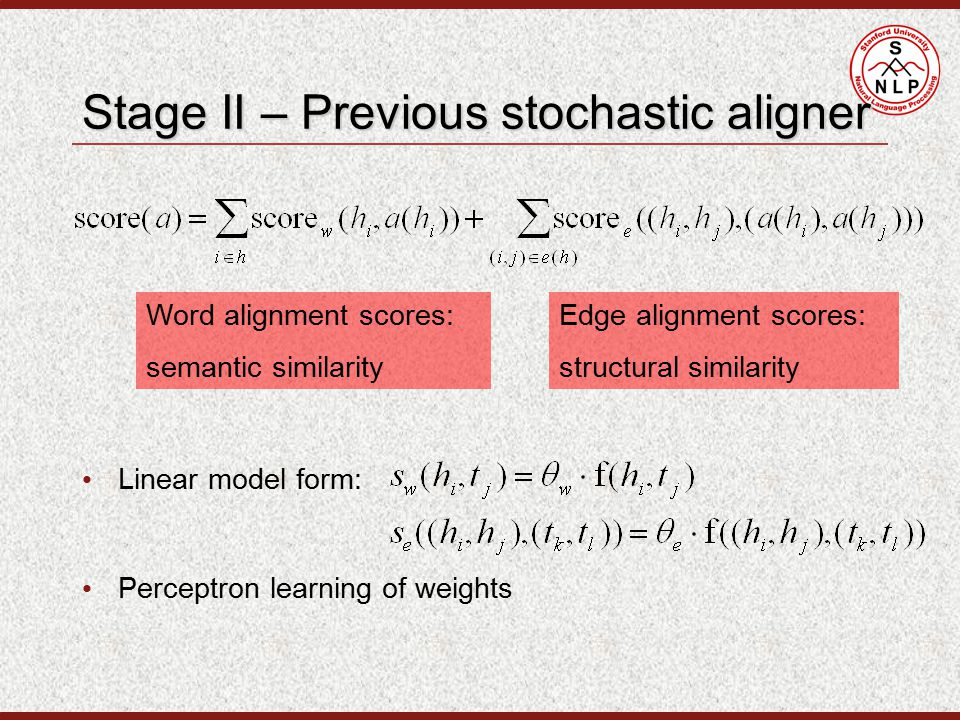 Stage II – Previous stochastic aligner Word alignment scores: semantic similarity Edge alignment scores: structural similarity Linear model form: Perceptron learning of weights