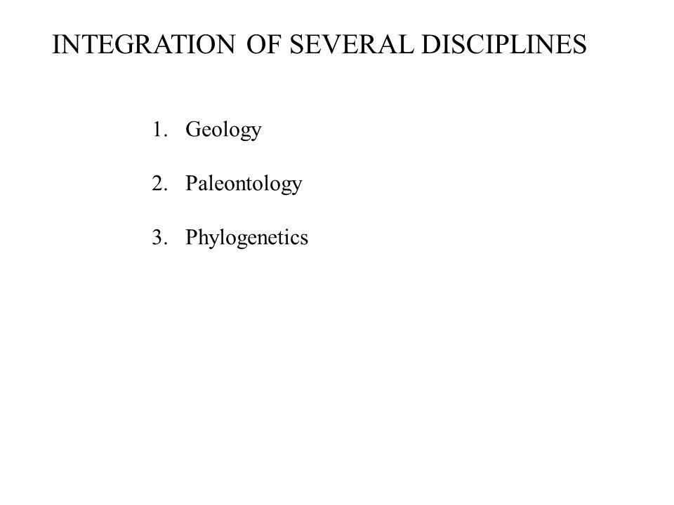 INTEGRATION OF SEVERAL DISCIPLINES 1.Geology 2.Paleontology 3.Phylogenetics