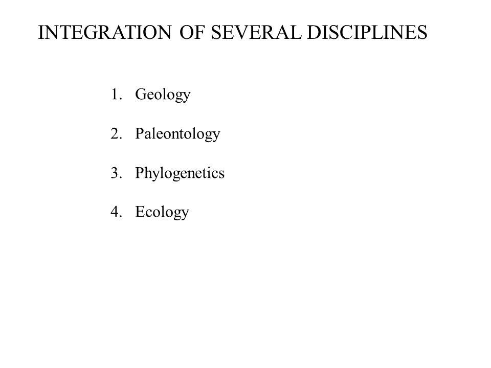 INTEGRATION OF SEVERAL DISCIPLINES 1.Geology 2.Paleontology 3.Phylogenetics 4.Ecology