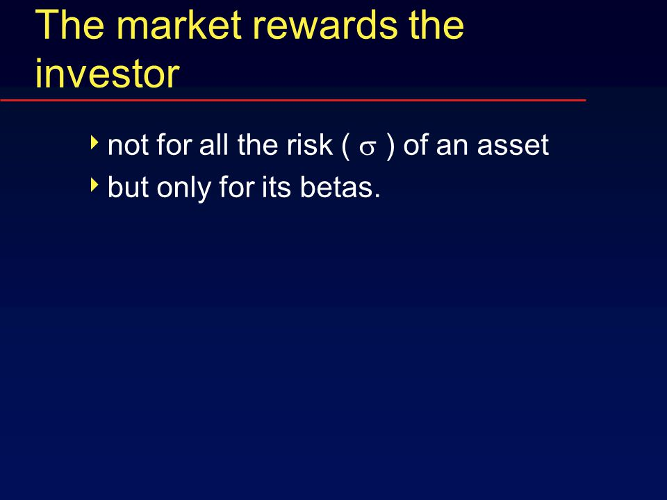 The market rewards the investor  not for all the risk (  ) of an asset  but only for its betas.