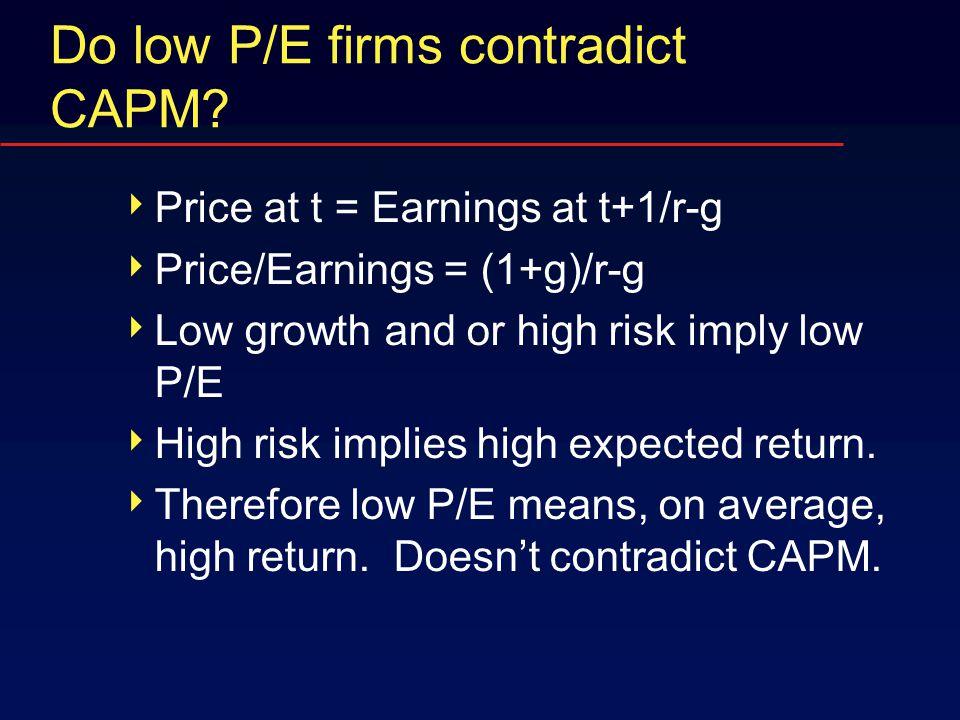 Do low P/E firms contradict CAPM.