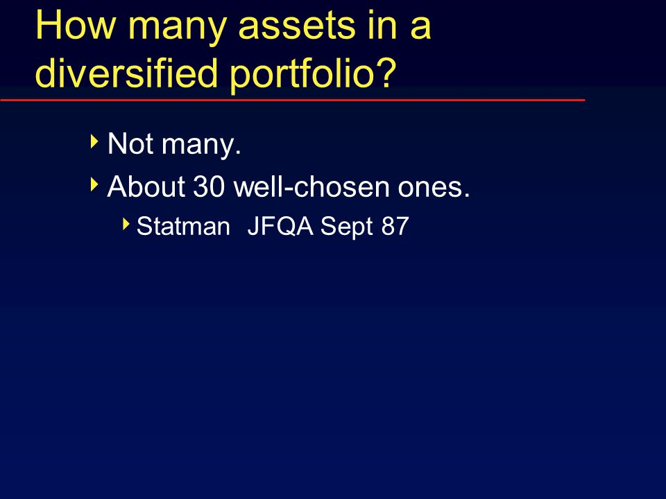 How many assets in a diversified portfolio?  Not many.  About 30 well-chosen ones.  Statman JFQA Sept 87