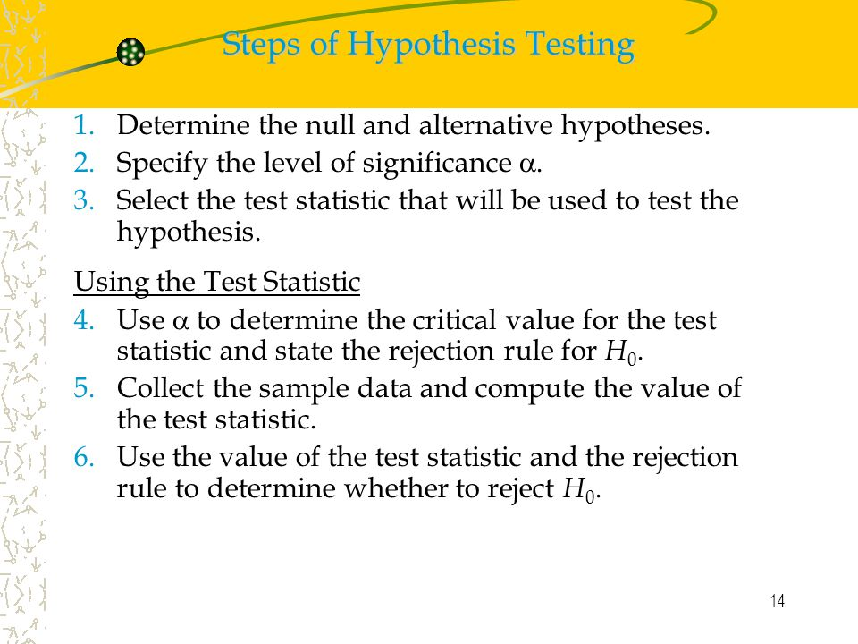 14 Steps of Hypothesis Testing 1.Determine the null and alternative hypotheses.
