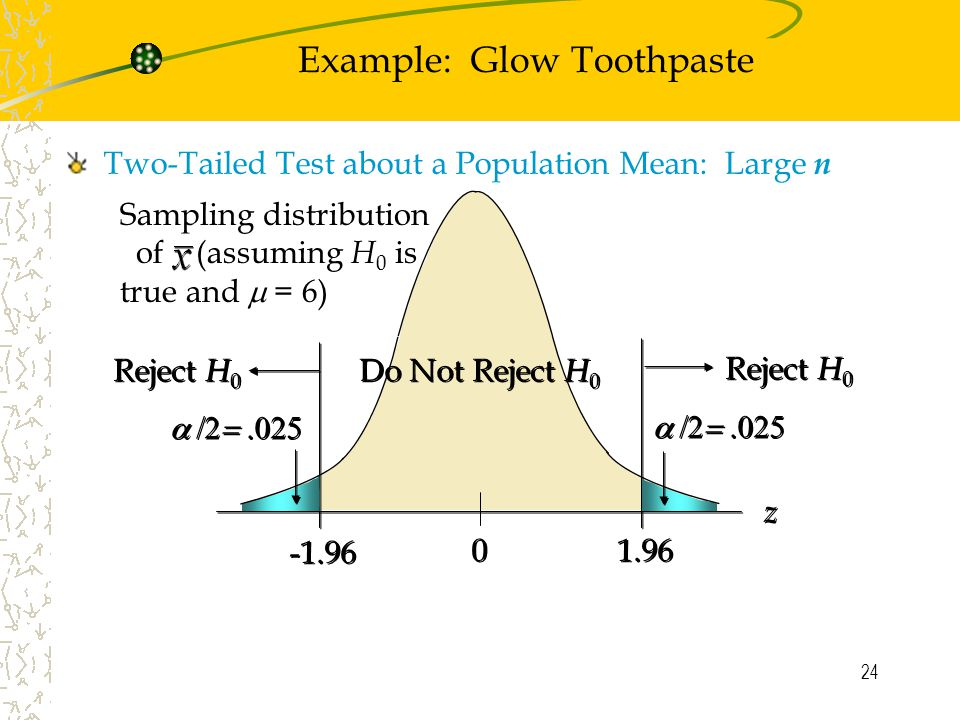 24 Sampling distribution of (assuming H 0 is true and  = 6) Example: Glow Toothpaste Two-Tailed Test about a Population Mean: Large n  Reject H 0 Do Not Reject H 0 z z Reject H 