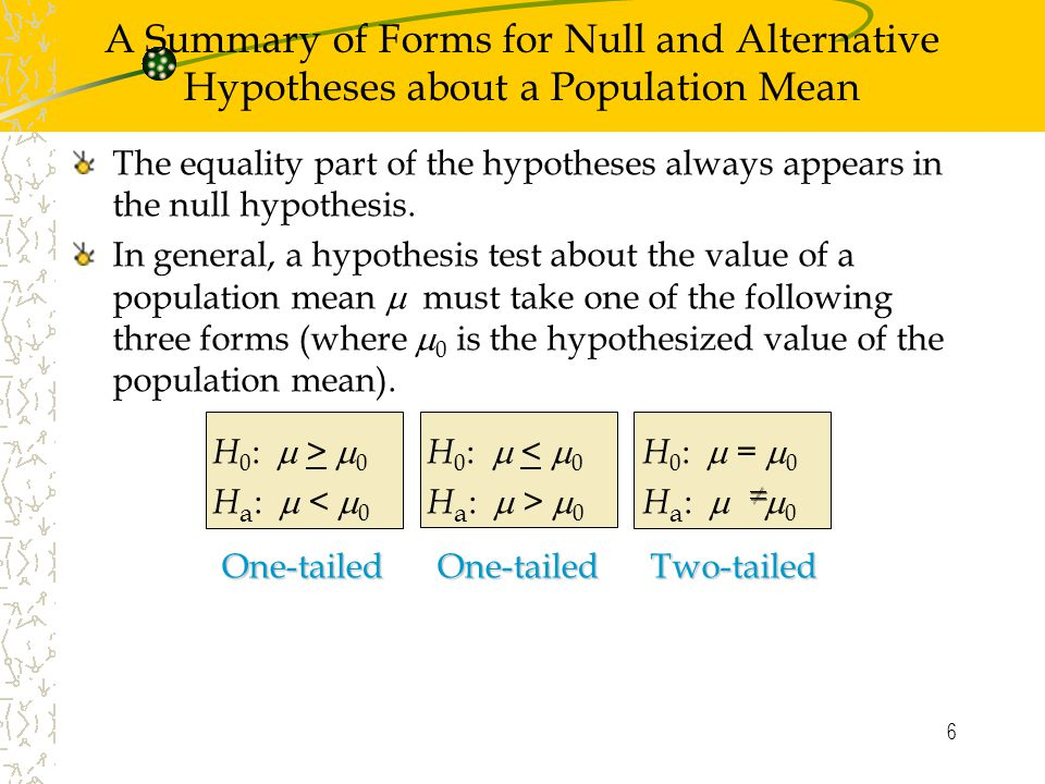 6 The equality part of the hypotheses always appears in the null hypothesis.