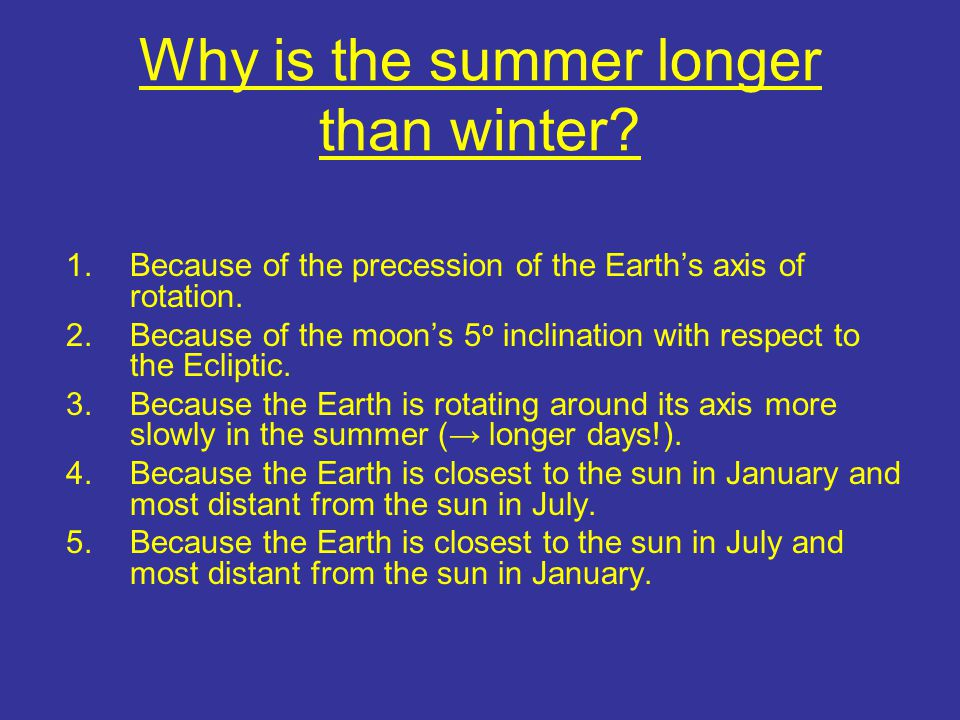 Why is the summer longer than winter. 1.Because of the precession of the Earth's axis of rotation.