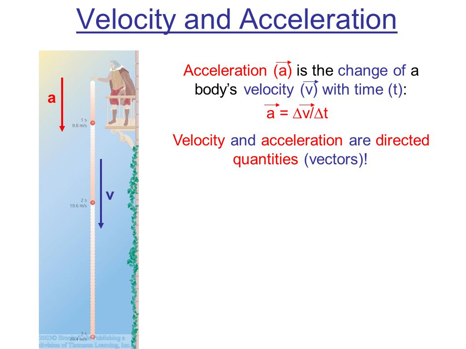 Velocity and Acceleration Acceleration (a) is the change of a body's velocity (v) with time (t): a =  v/  t Velocity and acceleration are directed quantities (vectors).