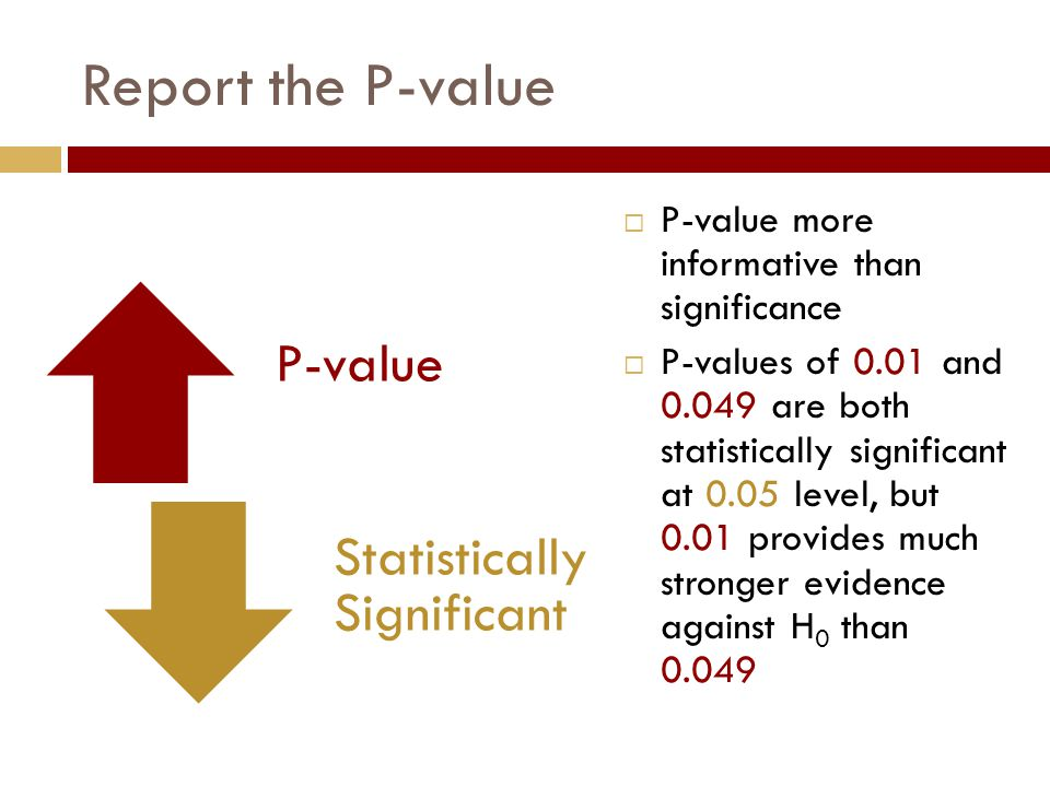 Report the P-value  P-value more informative than significance  P-values of 0.01 and 0.049 are both statistically significant at 0.05 level, but 0.01 provides much stronger evidence against H 0 than 0.049 P-value Statistically Significant