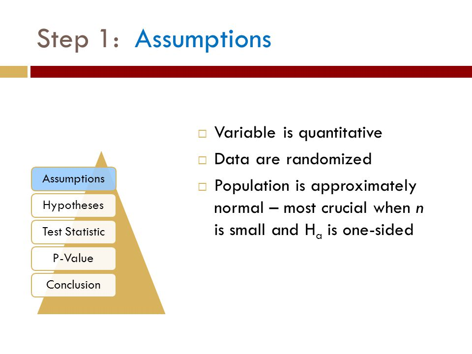  Variable is quantitative  Data are randomized  Population is approximately normal – most crucial when n is small and H a is one-sided Step 1: Assumptions AssumptionsHypothesesTest StatisticP-ValueConclusion