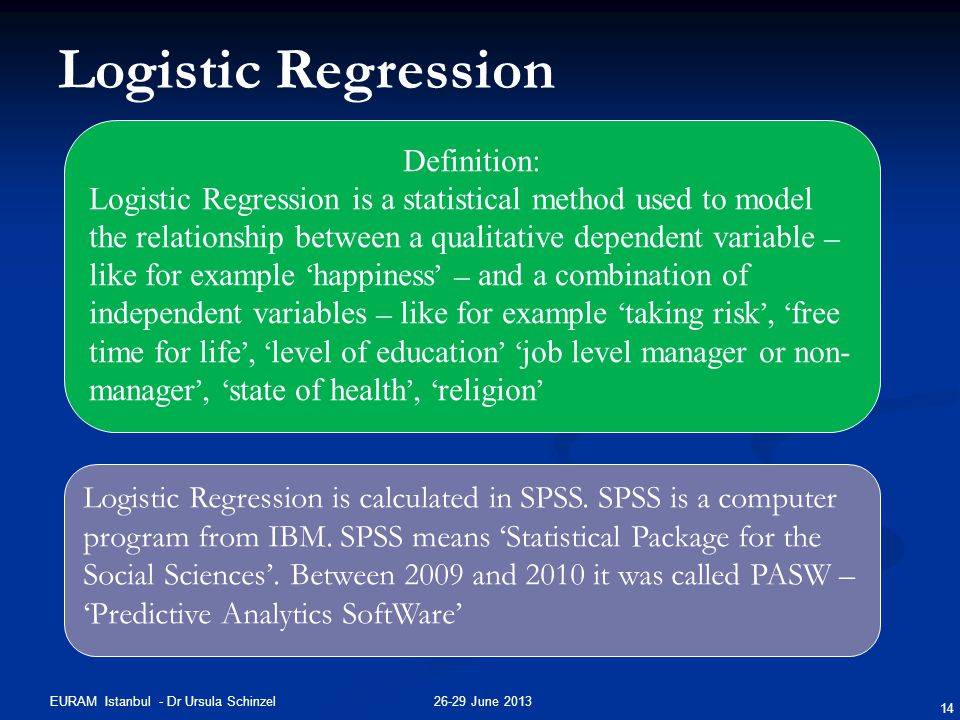 26-29 June 2013EURAM Istanbul - Dr Ursula Schinzel 14 Logistic Regression Definition: Logistic Regression is a statistical method used to model the re