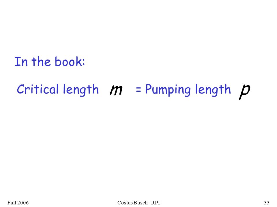 Fall 2006Costas Busch - RPI33 In the book: Critical length = Pumping length
